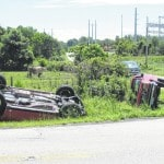 Minor injuries in two-vehicle rollover crash