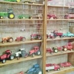 Toy tractors on display at library