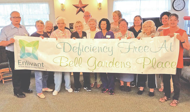 Bell Gardens Place Assisted Living in Hillsboro has announced it has received for the fourth year in a row a deficiency free survey from the Ohio Department of Health. This survey reviews all the services and care guidelines mandated by the state. It also reviews all human resources and activities for the residents and staff.
