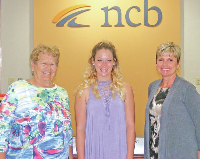 NCB recently awarded six college scholarships to local students. Winners of the NCB Ernie Blankenship Athletic Scholarship for $1,250 were Jensen Daulton, Lillian Van Zant and Alexis Waits. Winners of the NCB Money Matters Financial Education Scholarship for $1,000 were Maggie Carr, Cheyenne Clift and Hope Tira. Rita Blankenship, Deb Jones, NCB Ohio co-president, and Tammy Irvin, NCB regional branch manager, are pictured with some of the students.