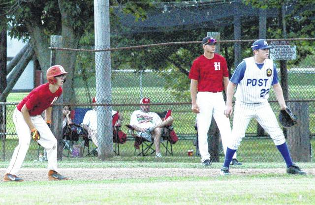 Casey Nace takes a lead from first base on June 16 at Shaffer Park during Legion Post 129's tournament game against Portsmouth Post 23. Post 129 played in the Jim Jadwin Memorial Tournament this past weekend in Chillicothe.