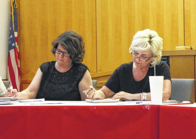 Hillsboro City Council members Tracy Aranyos and Ann Morris take notes during a Monday council meeting.