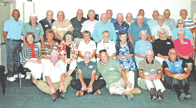 """The Hillsboro High School class of 1957 held its 60th class reunion June 24 at the Ponderosa Banquet Center. Fifty-one class members and guests enjoyed an evening of exchanging memories and a delicious banquet dinner. Plans were made for a picnic reunion on June 23, 2018 at Liberty Park. Pictured are (front row, l-r), Omar Price Jr., Tom Wilkin, Herbert Rhoads, Gene McLaughlin and Ronald Countryman; (second row, l-r) Christine (Mackey) Cook, Patricia (Streber) White, Alice (Runyon) Henson, Susan (Stephens) Gall, Joyce (Reed) Frazer, Beverly (Dillard) Rhoads, Mary (Robinson) Potts, Maxine (Groves) Pitzer and Olive (Holbrook) Hoagland; (third row, l-r) Larry Cole, David Burkard, Larry Sonner, Ed Hiestand, David Deininger, Larry Evans, Charles Leber, Lloyd Rhoads and Mariana (Dixon) Rhoads; (fourth row, l-r) Wayne Meddock, Leslie Garman, Paul """"Butch"""" White, James Hall, Phil Williams, Bill Smith, Dean Greene and Bob Dunlap."""