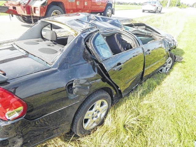 This black Chevrolet Malibu was the only vehicle involved in a Monday afternoon wreck that claimed the life of a 17-year-old female.