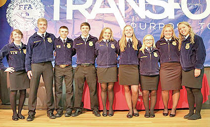 The Fairfield FFA chapter held its annual recognition banquet recently where freshman, sophomore, junior and senior students who participated in CDEs were recognized, as well as students who participated in fruit sales. Freshman students were recognized and awarded their Greenhand Degrees and many sophomores were awarded their Chapter Degrees. Blake Adams, Andrew Davis, Braden Heizer, Kaydyn Lamb, Austin Thompson, Klay Walker, Hannah Willey, Sarah Young and Dylan Zimmerman were recognized for their achievements in receiving their State Degrees. Wyatt Harris, Grace Larrick and Ashley Taylor were also recognized in earning their American Degree, the highest degree an FFA member can earn. The Fairfield FFA chapter also presented their new officer team as they said farewell to the outgoing officer team of last year. Pictured, from left, are Teigan Thackstan, Andrew Davis, Dale Back, Tanner Collins, Ally Davis, Paige Tetters, Alexis Tompkins, Bri Flint and Blake Adams.