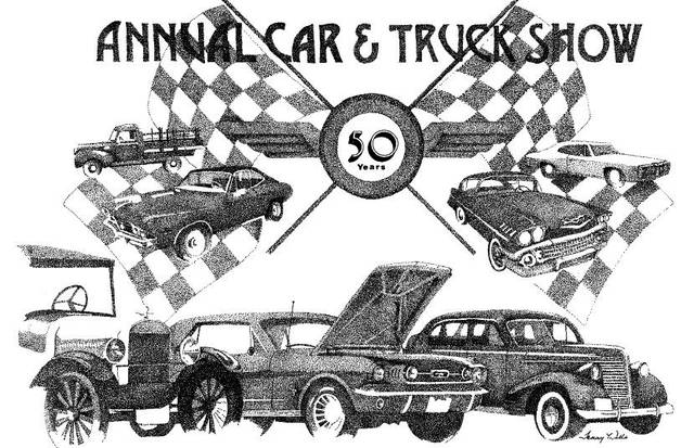 Ten prints of this drawing by local artist Tammy Wells celebrating the 50th anniversary of the annual car and truck show at the Greene Countrie Towne Festival will be sold during the Greenfield Rotary Club Auction that runs from 1-3 p.m. Saturday.