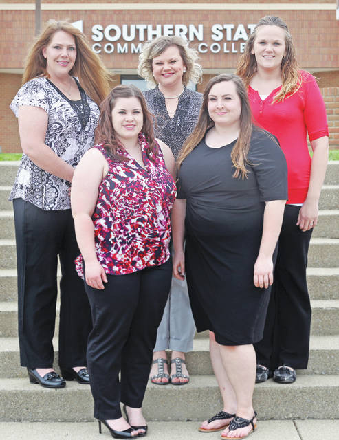 The 19th graduating class of the Southern State Community College Billing & Coding Specialist program includes: (front, l-r) Kennedy McWhorter and Ciera Wright; (back, l-r) Laura Lovlie, Danette Kelch and Brittany Swisshelm.
