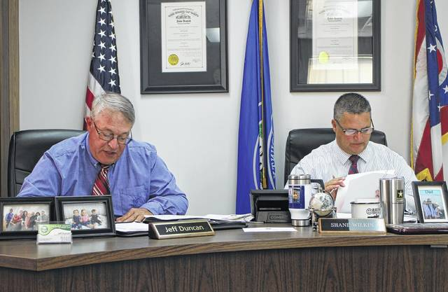 Highland County Commissioner Jeff Duncan, left, sits in a Wednesday commissioners meeting with board president Shane Wilkin, right.