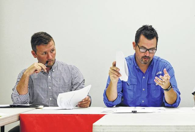 Rob Holt, left, sits in a meeting of the Hillsboro Planning Commission with safety and service director Mel McKenzie.