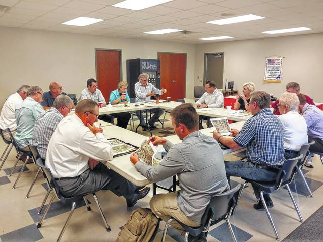 """""""Stakeholders"""" of a possible Hillsboro redevelopment district discuss ideas in a meeting Tuesday at the North East Street firehouse in Hillsboro."""