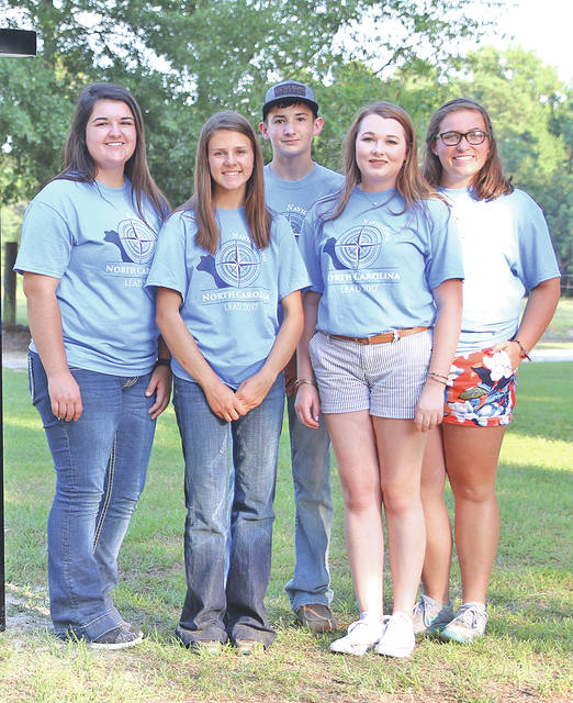 "These junior Angus members represented Ohio at the 2017 LEAD (Leaders Engaged in Angus Development) Conference, Aug. 3-6 in Raleigh, N.C. Pictured from left are McKayla Raines, Seaman; Ellie Kidwell, Walhonding; Ty Raines, Seaman; Lydia Dance, Hillsboro; and Sarah Millikan, Napoleon. A total of 146 juniors from 27 states and Canada attended the conference, ""Navigating North Carolina,"" where they enhance leadership and interpersonal skills while learning more about the beef industry."