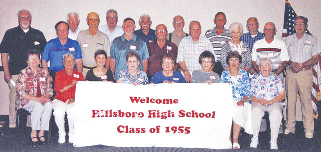 The Hillsboro High School class of 1955 recently celebrated its 60-year reunion. Pictured are (front row, l-r) Ruth Roush, Alicia Hilliard, Liddy Finley, Eleanor Redkey, Lenore King, Sally Harris, Myrna Hakes and Joann Smith; (middle row, l-r) Mike Wilson, Cliff Vance, John Beatty, Larry Burns, Dave Roush, Margaret Moran and Freddie Snyder; (back row, l-r) Carol Jones, Bob Reno, John Tannehill, John McLaughlin, Walter Bell, Dick Zink, Larry Reed and Jim Groves.