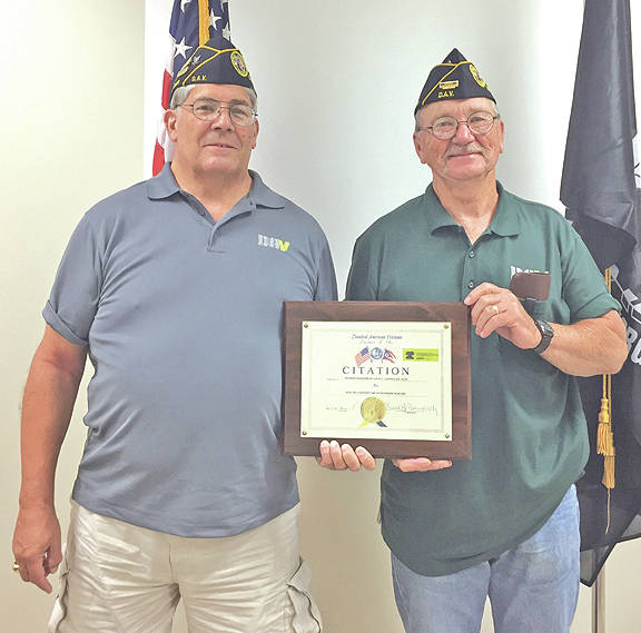 Leesburg resident Richard Kisamore, left, was recently named the Ohio DAV Member of the Year. He is pictured with local DAV Lloyd C. Ludwick Chapter 123 Senior Vice President Dwight Reynolds.