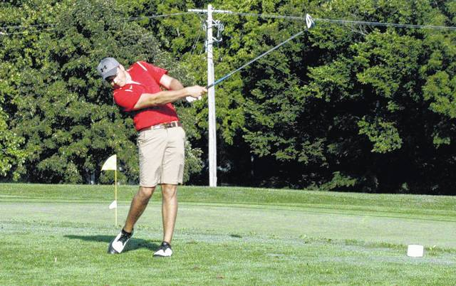 Will Kiefer drives a tee shot off of the number 10 hole tee box at Buckeye Hills Country Club on August 8 at the Adam Sharp Memorial hosted by the McClain Tigers. Kiefer was co-medalist in the Indians FAC opener Thursday on the road against the Chillicothe Cavaliers.