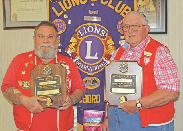 Two Hillsboro Lions Club members recently received recognition as Melvin Jones Fellows. This recognition represents their dedication to humanitarian service to the highest degree. Gary Ames, the Hillsboro Lions Club President Lion in 2017 and 2018, and twice past president Lion David Lowell were presented with the recognition by the Hillsboro Lions for their work in the Hillsboro community. The Hillsboro Lions will be accepting the used solar glasses in its glasses drop box. Any organization that would want to collect them for the Lions can deliver them to a meeting. The glasses are being collected to be sent to Astronomers Without Borders. They will take them to Africa to be used by students to view the solar eclipse over Africa in 2018. This is a STEM project for them. The Hillsboro Lions meet the second and fourth Thursday of each month at the Hillsboro Elks. Dinner starts at 6 p.m. with a meeting following the meal. Anyone with an interest in benefiting the community is welcome to attend a meeting.