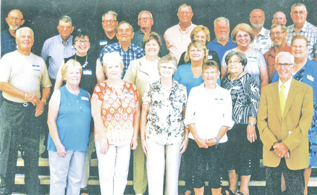 The Lynchburg-Clay class of 1967 held its 50-year reunion Aug. 22. Pictured are (front row, l-r) Mila (Hawk) Landess, Mary Ruth (Nickell) Waits, Mary Ann (Osborn) Countryman, Paula (Brady) Blair, Lana (Young) Thompson and Eugene Cook; (second row, l-r) James Dolph, Patricia (Patton) Roler, Richard Newman, Sharon (Osborn) Kerns, Barbara (Murphy) Fowler, Suanne (Patrick) Cookman, Timothy Stanforth and Carol (Vance) Lovett; (third row, l-r) Thomas Vanzant, John Landess, Larry Unger, Jerry Waits, Glenn Hess, Jeffrey Jenny, Roger Puckett, Terry Burden and Robert Reed.