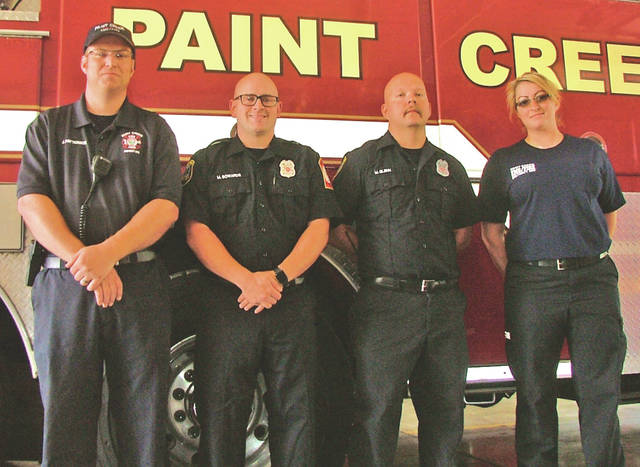 Paint Creek Joint EMS/Fire District employees are pictured, from left, Joe Patterson, Mike Sowards, Mike Glenn and Sharlene Staten.