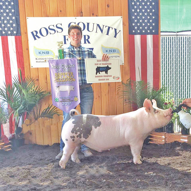 Mathew Barton received Reserve Grand Champion Market Hog at the 2017 Ross County Fair. Barton is a member of the Buckskin Ramblers 4-H Club. He graduated from Greenfield McClain High School and is a freshman at Morehead State University in Morehead, Ky. Mat is the son of Brian and Janie Barton.