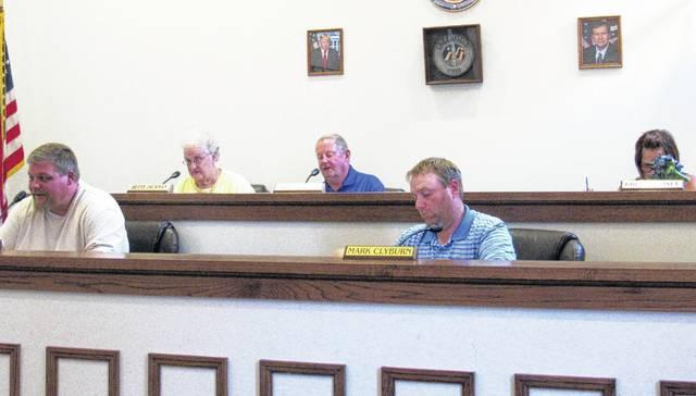 Greenfield council members are shown at Wednesday's meeting, including, from left, Chris Borreson, Betty Jackman, Bob Bergstrom, Mark Clyburn, and Brenda Losey.