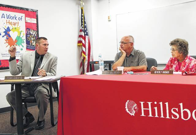 Hillsboro City Schools Superintendent Tim Davis, left, speaks to board of education members Tom Milbery and Beverly Rhoads.