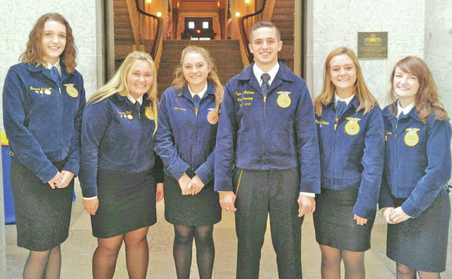 "Wednesday morning five Fairfield FFA members had the opportunity to attend the OLLC (Ohio Legislative Leadership Conference) at the Ohio State House. Students learned about the legislative process and participated in an activity were they acted as lobbyist. Members met new inspirational people and heard from state officers. The students said that this was ""a great experience"" and they ""truly learned a lot."" Members are already excited and ready for next year's conference. Pictured, from left, are Bri Burleson, Bre Flint, Ally Davis, Ryan Matthews, Rachel Schuler and Teigan Thackston."