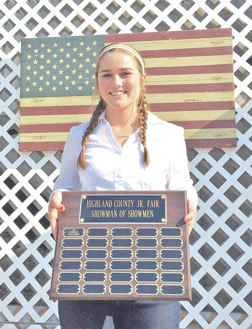 Hillsboro High School junior Kristin Jamieson was named the Showman of Showmen at the 2017 Highland County Fair.
