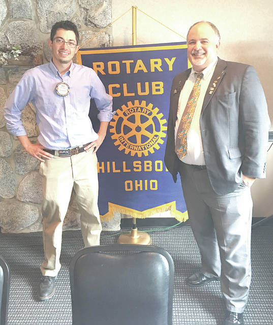 District 6670 Governor Mark Mabelitini, right, was the guest speaker Tuesday at the weekly meeting of the Hillsboro Rotary Club. He is pictured with Hillsboro Rotary Club President Reid Sharp.