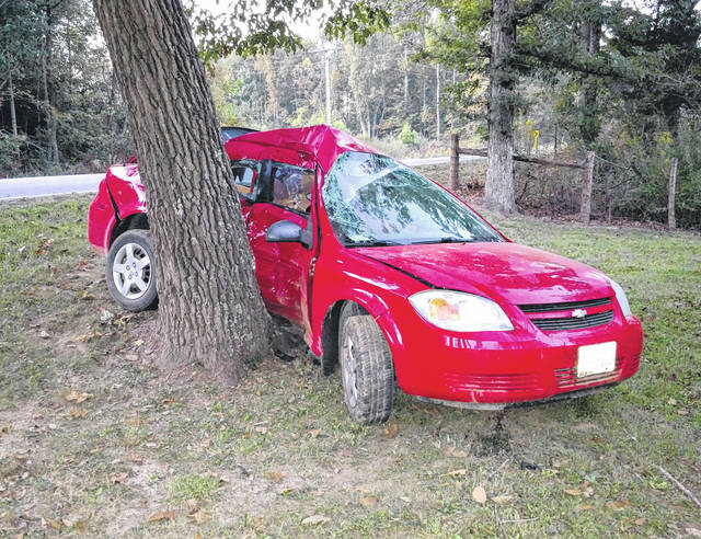 This vehicle struck a tree after the driver overcorrected Wednesday morning on a dangerous curve on Concord Road.