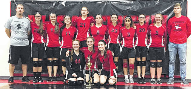 Highland Christian Academy Lady Crusaders volleyball team pose with the first place trophy after winning the Crusader Classic volleyball tournament on Saturday. Pictured (l-r): Front Row – Rachel Tracy, Tara Burns, and Hope Wyckoff Second Row – Head Coach Tyler Rhodes, Hannah McIntyre, Lizzy Pierce, Kiara Clark, Aubry McIntyre, Alisha Copley, Olivia Hainline, Alaina Johnson, Lillian Hainline, Hayley Throckmoton, and Assistant Coach Austin Dixon.