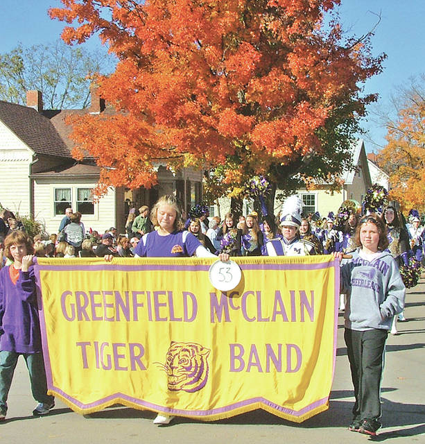 Members of the McClain High School Marching Band parade down Main Street in Bainbridge during a past Fall Festival of Leaves.