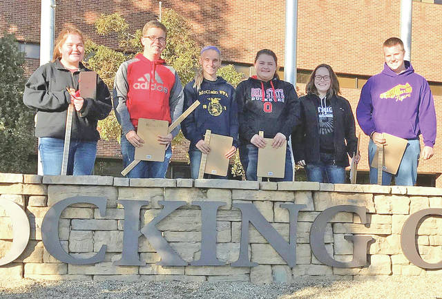 Six McClain FFA members recently participated in the state forestry competition. The team placed second in the district and 18th in the state. Members included Destiny Trefz (first in district, 90th in state), Kelli Uhrig (third in district, 103rd in state), Mallory Faulconer (eighth in district, 125th in state), Kaitlin Kellis (ninth in district, 135th in state), Carter Campbell (10th in district, 142nd in state) and Justin Hall (13th in district, 156th in state). The forestry competition consists of tree identification, chainsaw troubleshooting and parts, equipment identification, forest management, timber cruising and tree disorders. The competition broadens the horizons to adequate forest management in students as continuing to expand their knowledge in the forest.