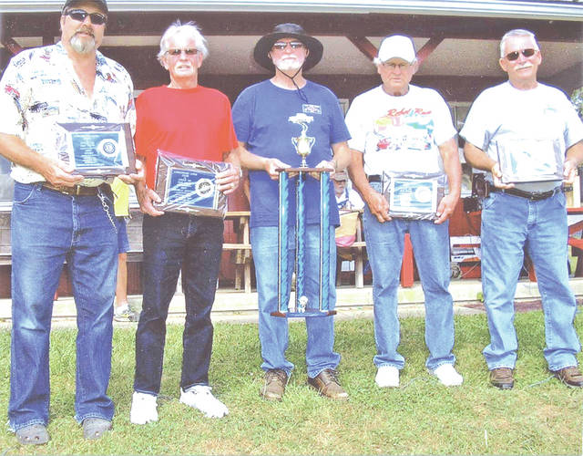 Pictured, from left, are Mark Simmons, Gene Stricker, Bill Wilmoth, Bill Blackburn and John Williamson. They were the winners of the top five awards at the car show.