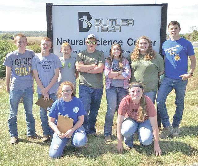 The Mowrystown FFA Chapter traveled to Butler Tech on Oct. 2 to compete in the District 9 Soils Judging CDE. The HIgh School Rural Soils team, which consists of Logan Cummings, Colton Evans, Cora Gillespie and Chesnie Pharo, placed ninth in the district. The Middle School Rural Soils team, consists of Charles Phillips, who got third in the district. The Urban Soils team, which consists of Cole Pharo, Zachary DeAtley, Brianna Purvis and Elizabeth Edwards, placed fifth in the district and will be moving onto the state contest. Cole Pharo got eighth overall in the Urban Soils Contest.