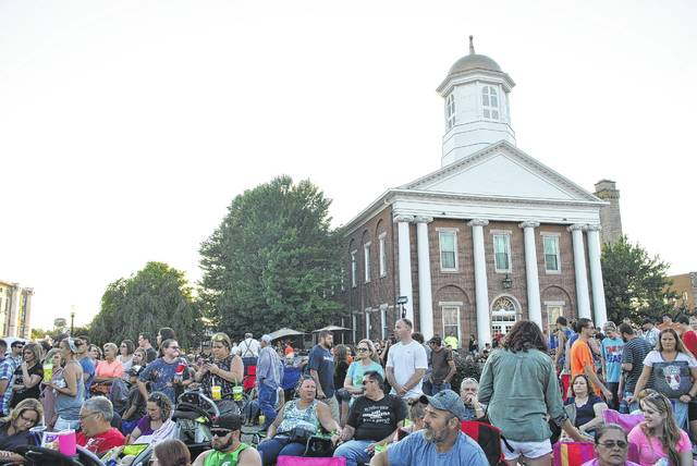 Festivalgoers are shown crowding the courthouse square during the 2017 Festival of the Bells.