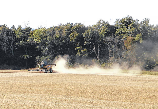 Farmers were out and about harvesting soybeans throughout the weekend and on Monday, when this photo was taken on High Top Road near Samantha.