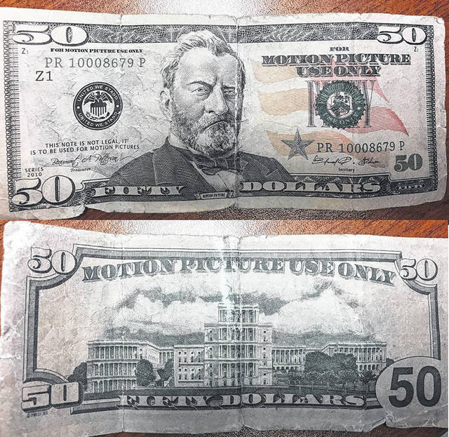 "This counterfeit bill, meant to be used as a prop in a film, says ""For motion picture use only."" It was recently passed at Flagway in Hillsboro."
