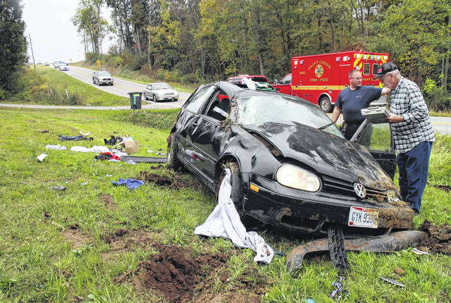 A two-vehicle accident on SR 247 south of Hillsboro on Tuesday afternoon sent a 17-year-old to the hospital with non-life-threatening injuries. According to trooper Tyler Holcomb with the Ohio State Highway Patrol, preliminary investigation indicates a juvenile, who an eyewitness identified as a North Adams High School student, was driving a black Volkswagen hatchback southbound on 247, and drove left of center, striking a northbound gold Toyota sedan, driven by Hollis Stevenson, 70, with two passengers. The Volkswagen then flipped end over end before coming to rest about 40 yards away in a yard on the opposite side of the road, officials said. None of the three people in the Toyota were injured, and the juvenile was the only occupant of the Volkswagen, according to Holcomb. The juvenile was transported via ambulance to Highland District Hospital. The matter remains under investigation.