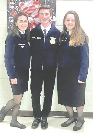 "The Hillsboro FFA Chapter recently participated in the Sub-District and District Job Interviews Contests. The Sub-District contest was held Nov. 6 and hosted by the McClain FFA Chapter. The Hillsboro FFA was well represented by five members and three of them advanced to the district. "" This is a great opportunity that will help prepare me for a real job interview,"" said Larkyn Parry. On Nov. 9 the Hillsboro FFA hosted the District Job Interview Contest. Madison Stratton, Jonathon Hatfield and Jaiden Hughes represented the chapter. Hughes got third overall for Division II. Job Interview is a great way for students to learn how to make a resume, cover letter, follow-up letter, and how to master the interview process. The students are learning valuable life skills that will help them in life now and later. ""I wish I would have done job interview sooner,"" said Madison Stratton. The Hillsboro FFA would like to thank all the teachers, staff, judges and parents for their help. Pictured, from left, are Madison Stratton, Jonathon Hatfield and Jaiden Hughes."