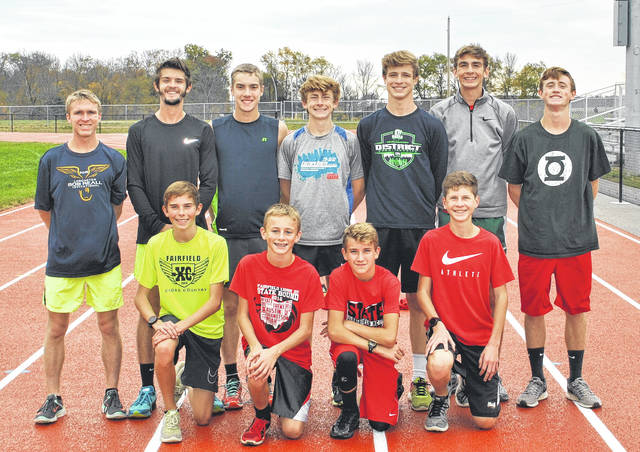Members of the Fairfield High School boys state qualifying cross country team pose for a picture on Thursday at the Fairfield track. Front row (l-r): Ethan Davis, Blake Haines, Cohen Frost and Gavin Campbell. Back row (l-r): Austin Setty, Noah Richmond, Andrew Davis, Matthew Mangus, Sam Buddlemeyer, Brandtson Duffie and Bennett Hodson.