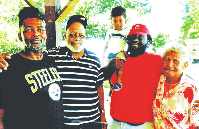 "Five generations of the Young family are shown in the photograph. Pictured, from right, are Rebecca Ford of Greenfield, David Young III, David ""Four"" Young IV, David Young of Hillsboro, and David ""JR"" Young Jr. The three youngest Youngs all live in the Columbus area."