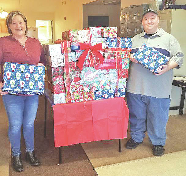 Submitted photo In the season of giving, the Highland County Homeless Shelter clients have selected Operation Christmas Child for a third year in a row as part of the shelter's way of giving back to those in need. Operation Christmas Child allows clients the opportunity to give back during the holiday season. The project continues to be a success as the shelter filled 50 shoeboxes to capacity. The filled boxes were dropped off at the First United Methodist Church to be distributed among children less fortunate. No funding from the shelter is used for this project. It is made possible through the donations of Amatha Farrens, State Farm Insurance; TouchPoint Pentecostals (Sonja Worley) and shelter staff.