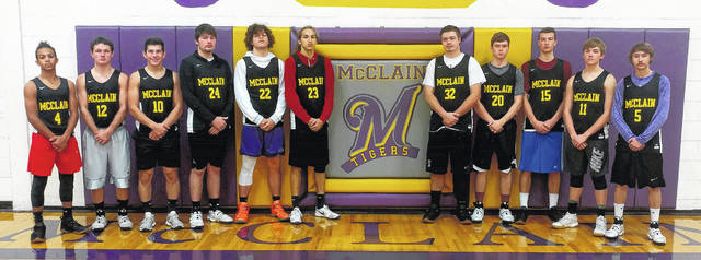 The McClain High School Tigers basketball team poses for a picture in the McClain gymnasium prior to practice. Pictured (l-r): Kobe Penwell, Trevor Newkirk, Ethan Cockerill, Devin Carter, Dalton Mischal, Landree Gray, Dakota Irvin, Justin Osborne, Gabrii Chiossi, Reece Schleup and Dakotah Duncan. Not pictured: Zane Mustard.