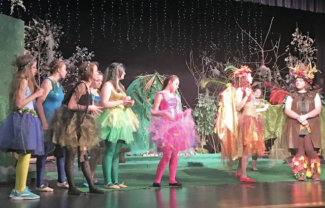 """Hillsboro High School students are pictured during a rehearsal for this weekend's presentation of """"A Midsummer Night's Dream."""""""