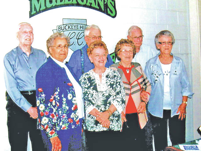 The Edward Lee McClain High School class of 1948 celebrated hits 69-year reunion recently at Buckeye Hills Country Club near Greenfield. Seven classmates and their guests were in attendance. The afternoon was filled with classmates reconnecting, reminiscing and looking at pictures from the past years. Pictured are (front row, l-r) Dorothy (Ford) Jones, Mary Ann (Sommers) Larkin, Ann Lou (McMullen) Lucas and Rosemary (Walker) Whited; (back row, l-r) John Martin, Paul Meredith and Thad Gossett.