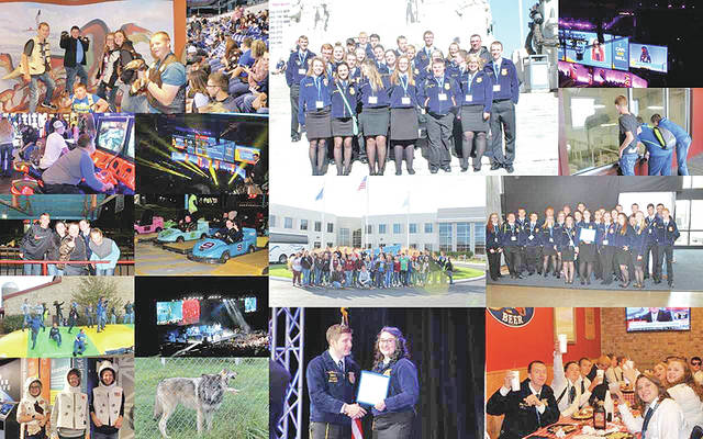 The Mowrystown FFA Chapter traveled to Indianapolis, Ind. on Oct. 24 to start the week off for the 90th National FFA Convention and Expo. On the 24th members participated in the National FFA Knowledge Quiz. The Junior/Senior team placed 25th in the nation. The freshman/sophomore team placed 17th in the nation and the junior high team placed second in the nation. Throughout the week members went to sessions where got to listen to keynote speaker Laila Ali, retiring addresses from the national officers, and to see their own Caitlin Frazer walk across the stage to receive her American Degree. Members also got to participate in fun activities throughout the week including the Buckeye Bash, Great Times Family Fun Park, a tour at Elanco Animal Health, Indy Children's Museum, a Rascal Flatts concert, the Expo and Trade Center at the convention hall, Fair Oaks Dairy Adventure, Wolf Park, and many great restaurants. Scenes from the trip are shown in the these pictures.
