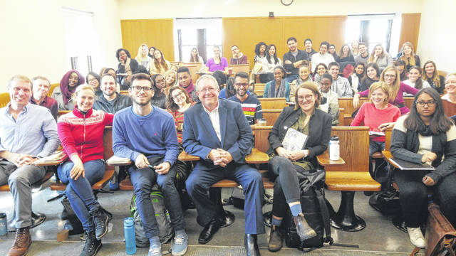 Times-Gazette Publisher and Editor Gary Abernathy, center, front row, is shown with graduate students at Columbia Journalism School in New York City on Friday, where he discussed media coverage of the Trump administration, communities that supported Trump, and fielded questions from students.
