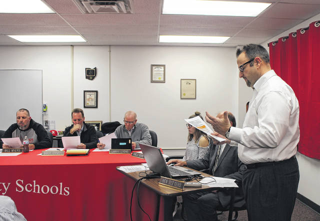 Nate Green, an economic development consultant from The Montrose Group, speaks to the Hillsboro City Schools Board of Education on Wednesday evening.