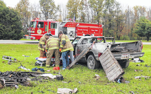 A man was transported via ambulance to Highland District Hospital after a rollover wreck on U.S. Route 62 near Wildcat Road Friday afternoon. Authorities on scene said the man, headed north on US 62 in a pickup truck, apparently drove off the right side of the road and struck an embankment, causing the truck to roll over before it came to rest upright in a nearby yard. The man appeared to be responsive as he was carried to the ambulance on a stretcher. A dog, which was apparently also in the vehicle at the time of the wreck, was transported to Hillsboro for medical treatment. No further information was available at the scene.
