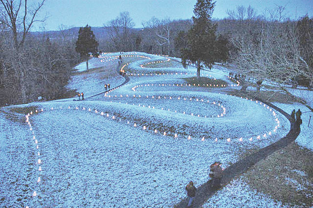 A scene from a past winter solstice Lighting of the Serpent event is shown in this photograph taken at Serpent Mound.