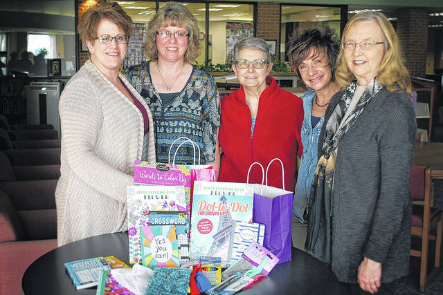 Members of Southern State Cancer Crusaders accept donations from Delta Kappa Gamma honorary society toward the Kare Kits project. Shown from left to right are Michelle Meddock, Angie Moots, Joy Gilmore, Rainee Angles and Becky Storer.